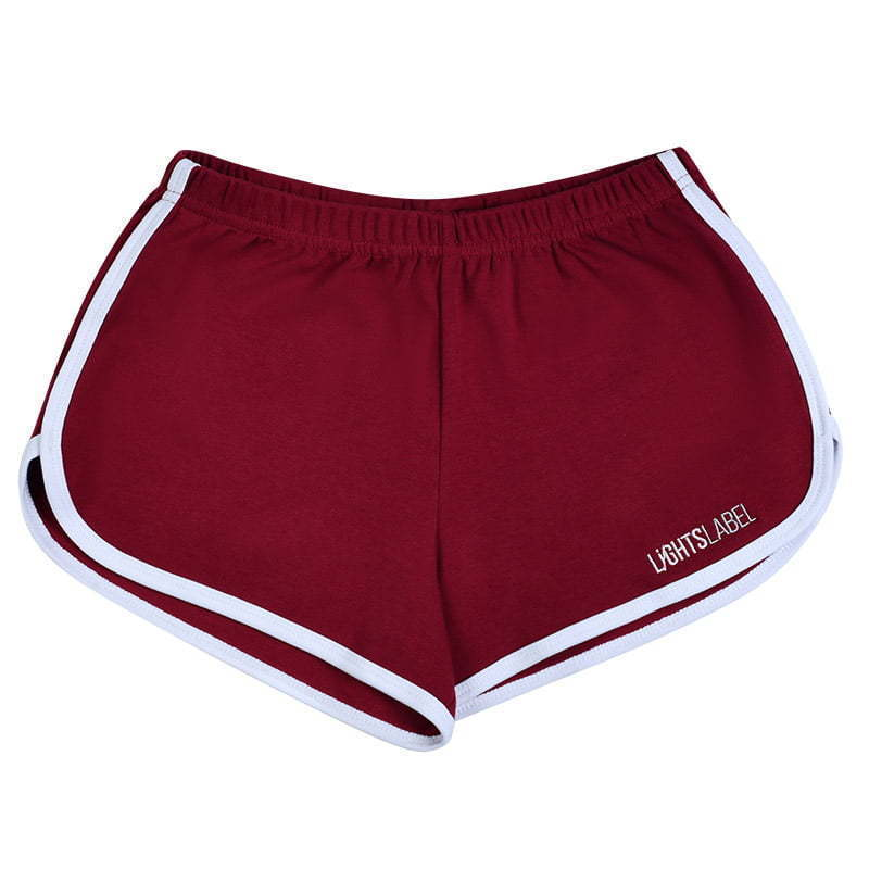 red girl's sport shorts lay flat  photography