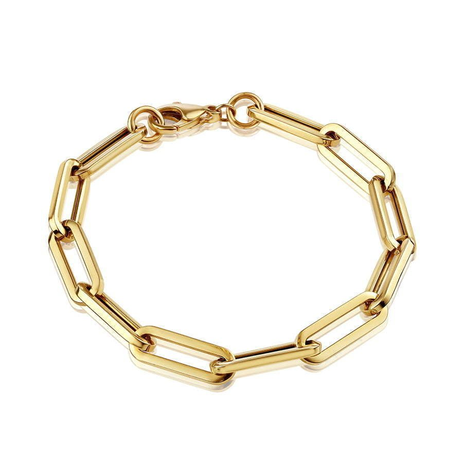 chunky gold chain bracelet in a circle photography