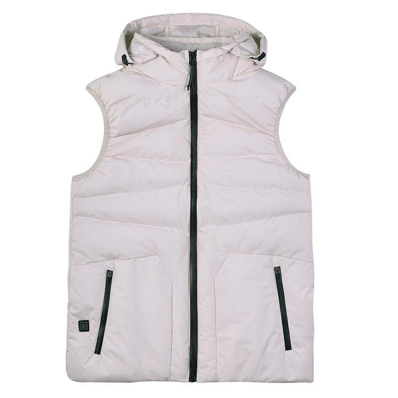 puffy winter vest with black zipper lay flat photography