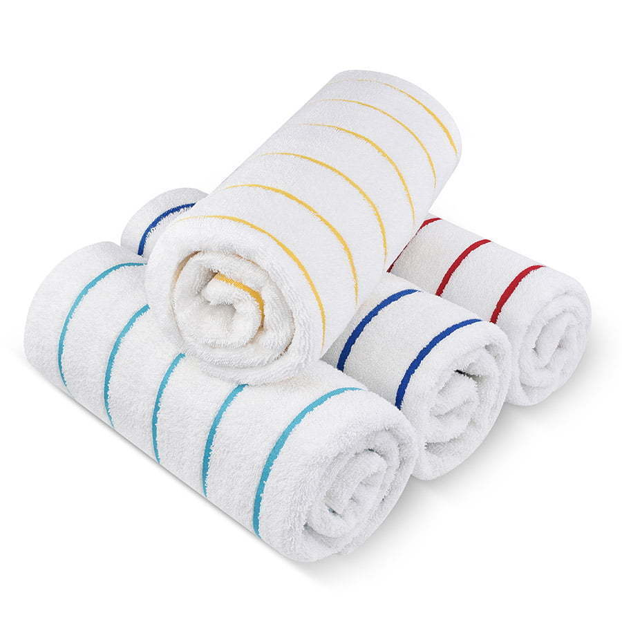 a stack of colorful striped towels photography