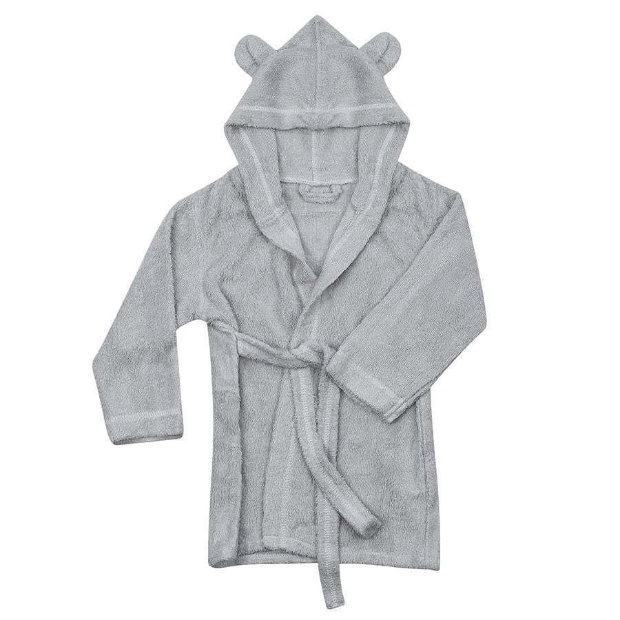 a flat lay photo of a baby grey bath robe with ears on a white background