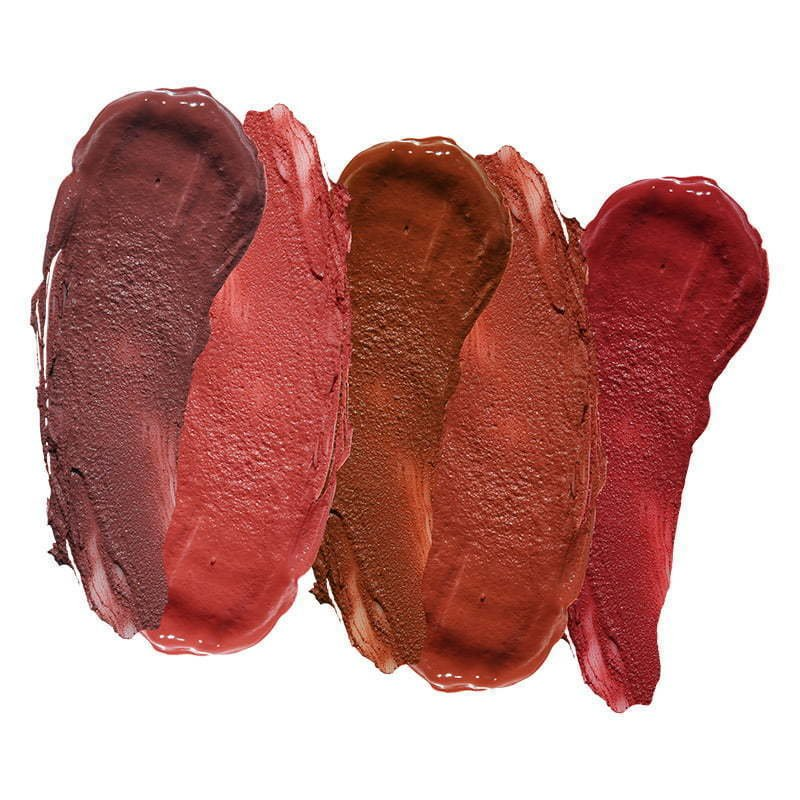 a photo of a group of liquid lipstick makeup swatches on a white background