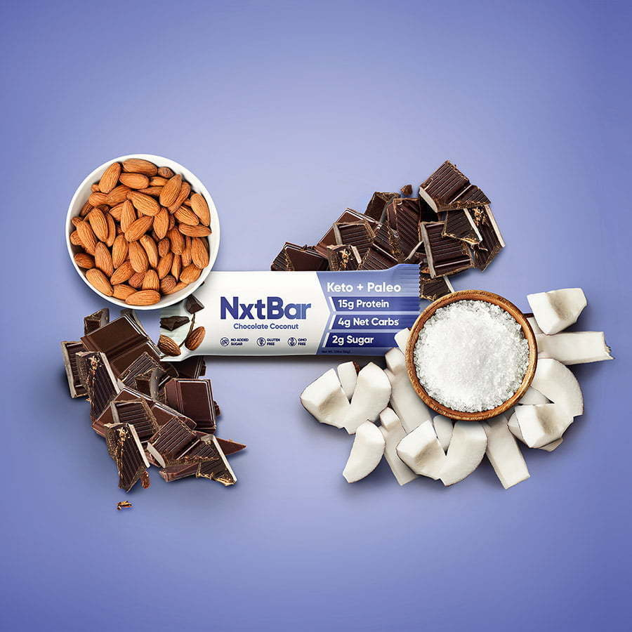 nutrition bar with chocolate and coconut on custom photography