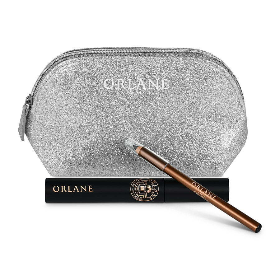 beauty silver glitter cosmetic makeup bag with brown cosmetic pencil  photography