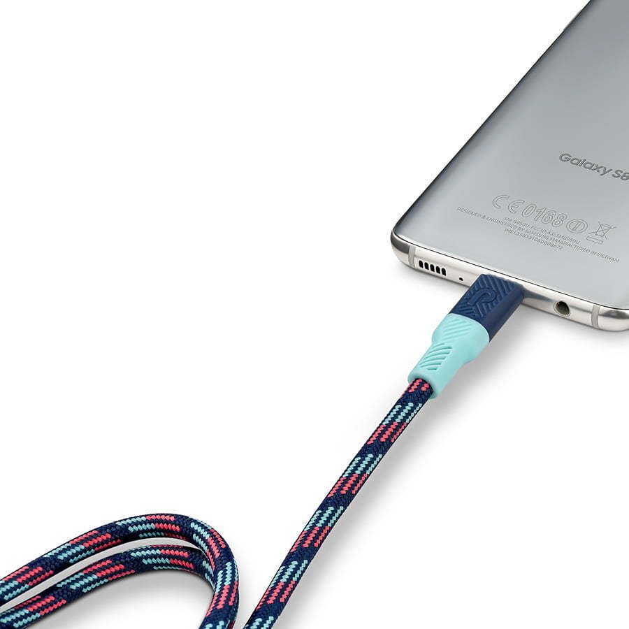 Multi color phone charger plugged into a Samsung phone