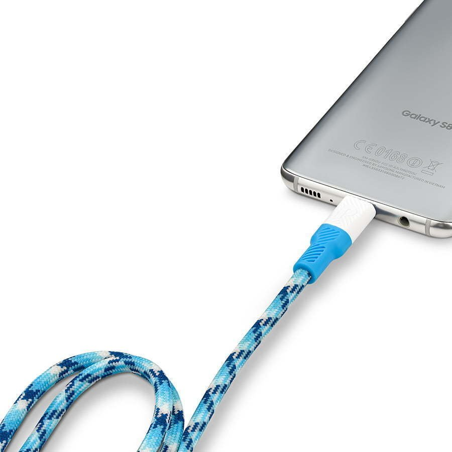 Blue phone charger plugged into a Samsung phone
