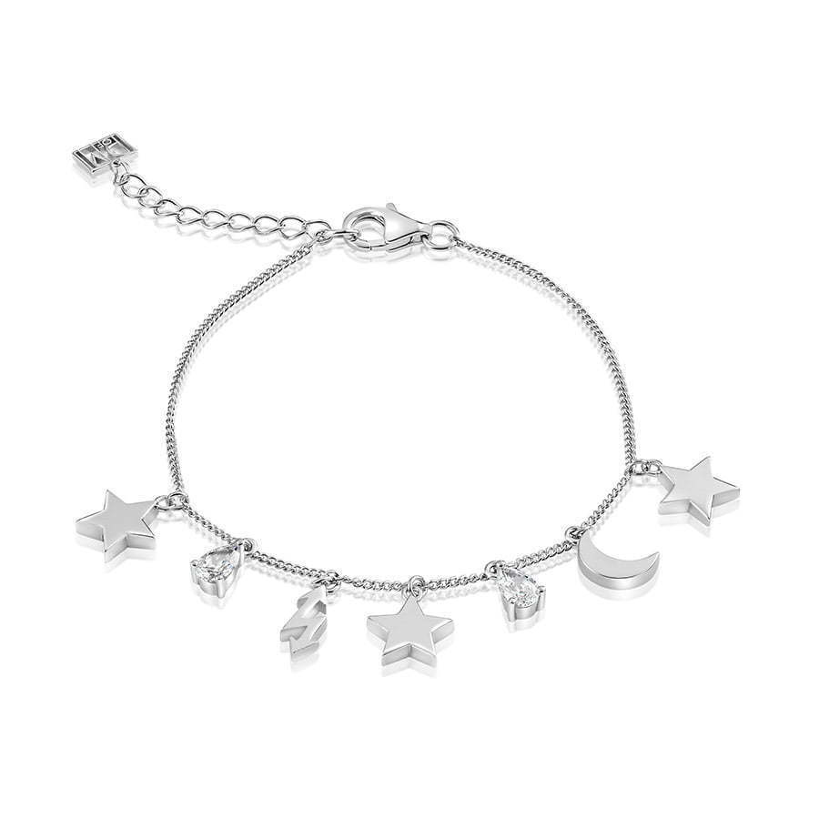 silver bracelet with silver stars and half moons in a circle photography
