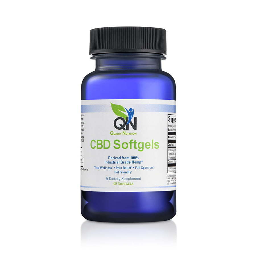 a pill bottle with CBD softgels front angle  nutrition photography