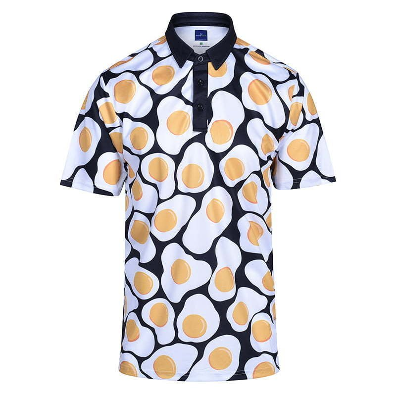 men's golf polo shirt in egg print ghost mannequin apparel photography