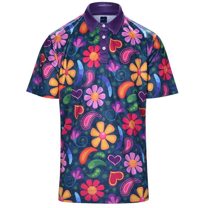 men's golf polo shirt in floral print ghost mannequin apparel photography