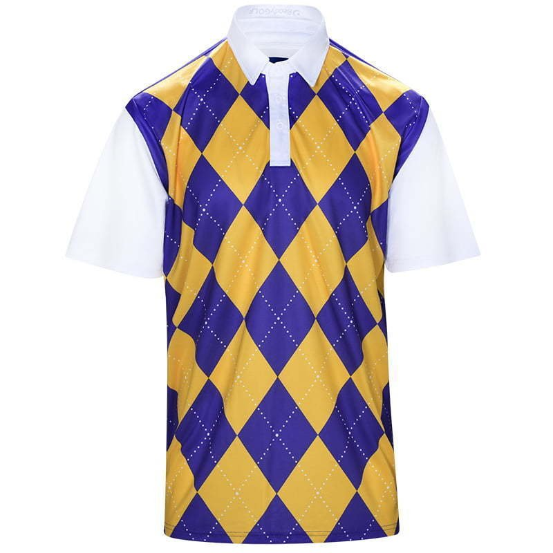 men's golf polo shirt in argyle print ghost mannequin apparel photography