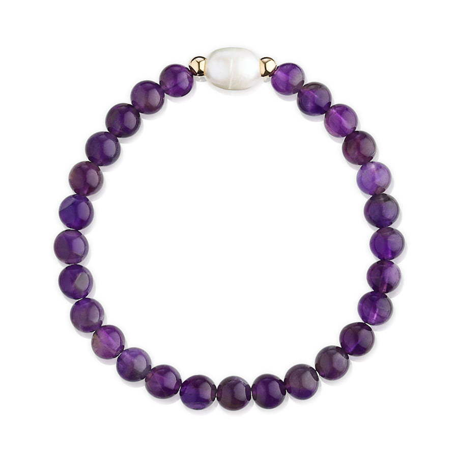 bracelet with dark purple stone beads in a circle jewelry photography