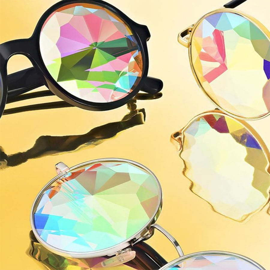 kaleidoscope glasses on a gold custom photography