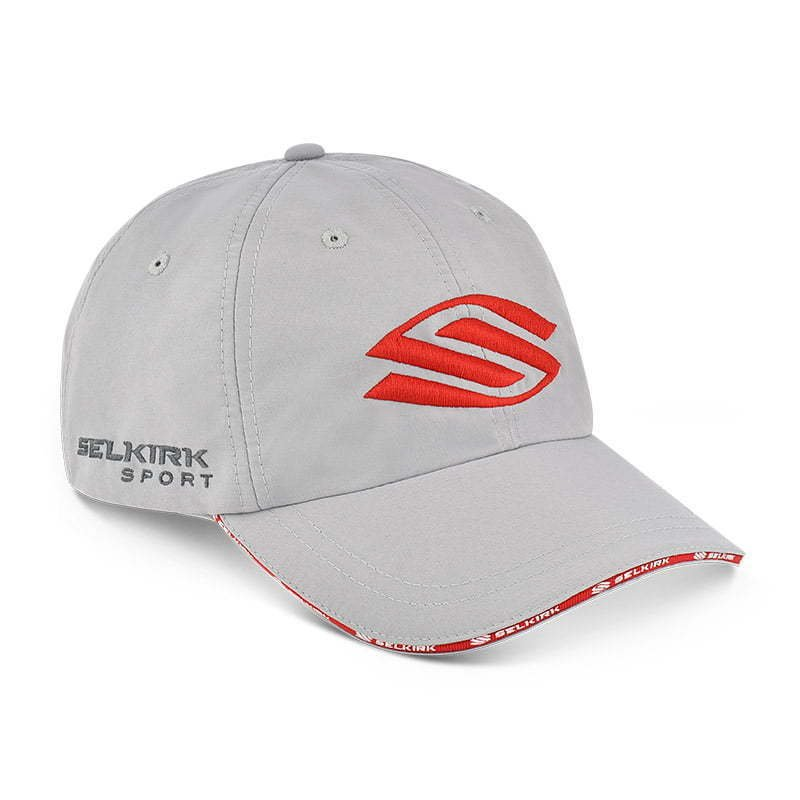 a hat side angle  with red stitching  ghost apparel photography