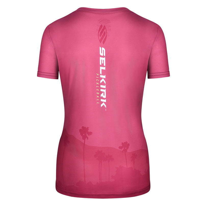 pink short sleeve  fitted women's sports shirt  ghost mannequin apparel photography
