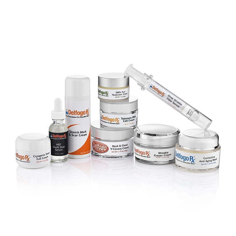 a group of skincare products photography
