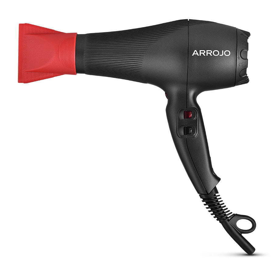red and black hair blow dryer photography