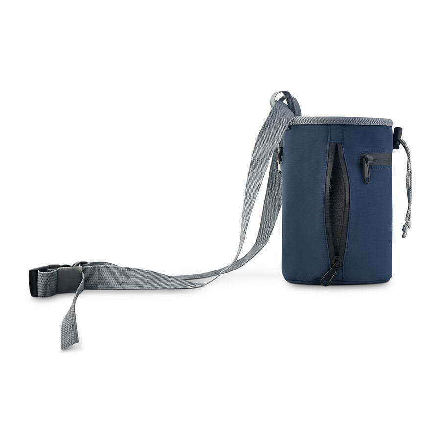 blue rock climbing chalk bag with grey adjustable body strap  photography