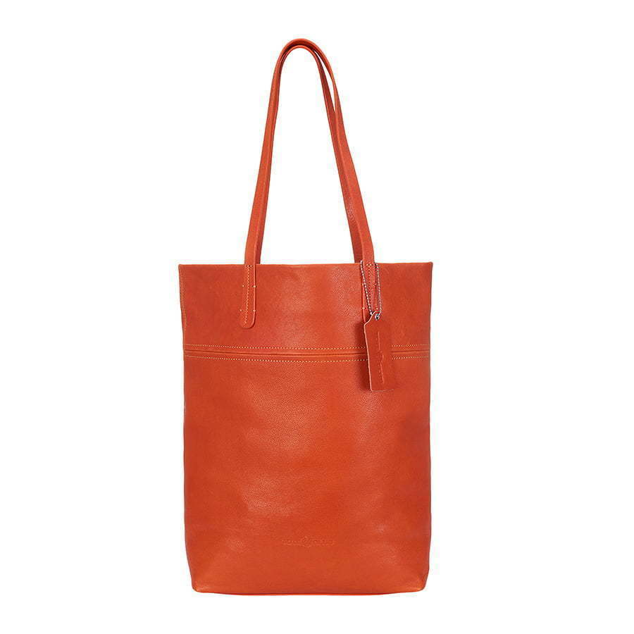 red orange leather tote bag photography