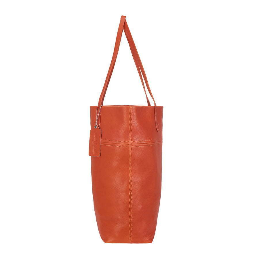 red orange leather tote bag side view photography