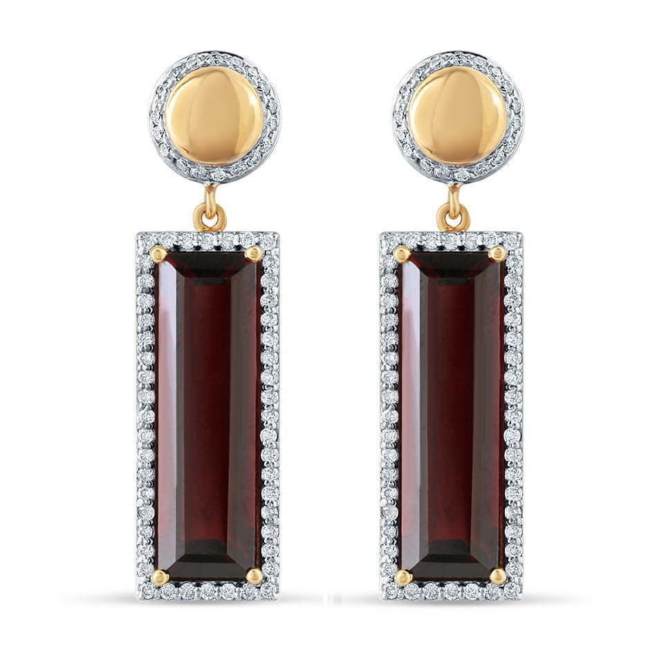 pair of circle gold post earring and rectangular stone dangling jewelry photography