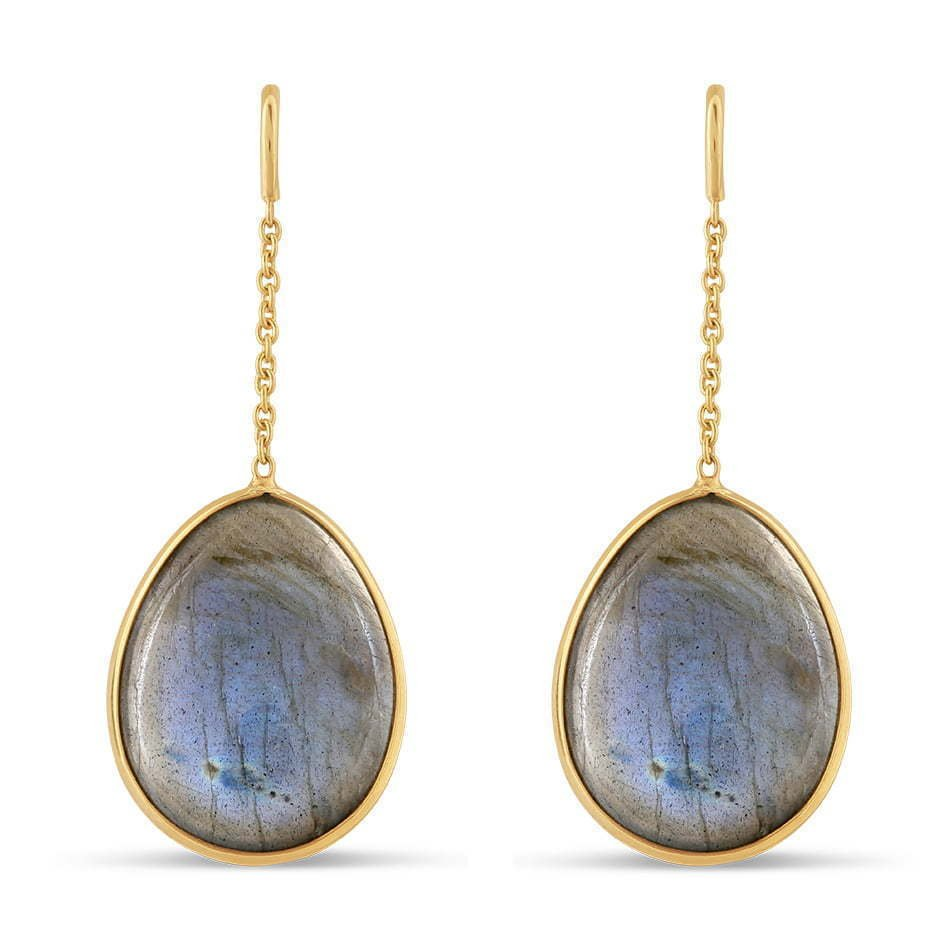 pair of circle stone dangling earrings photography
