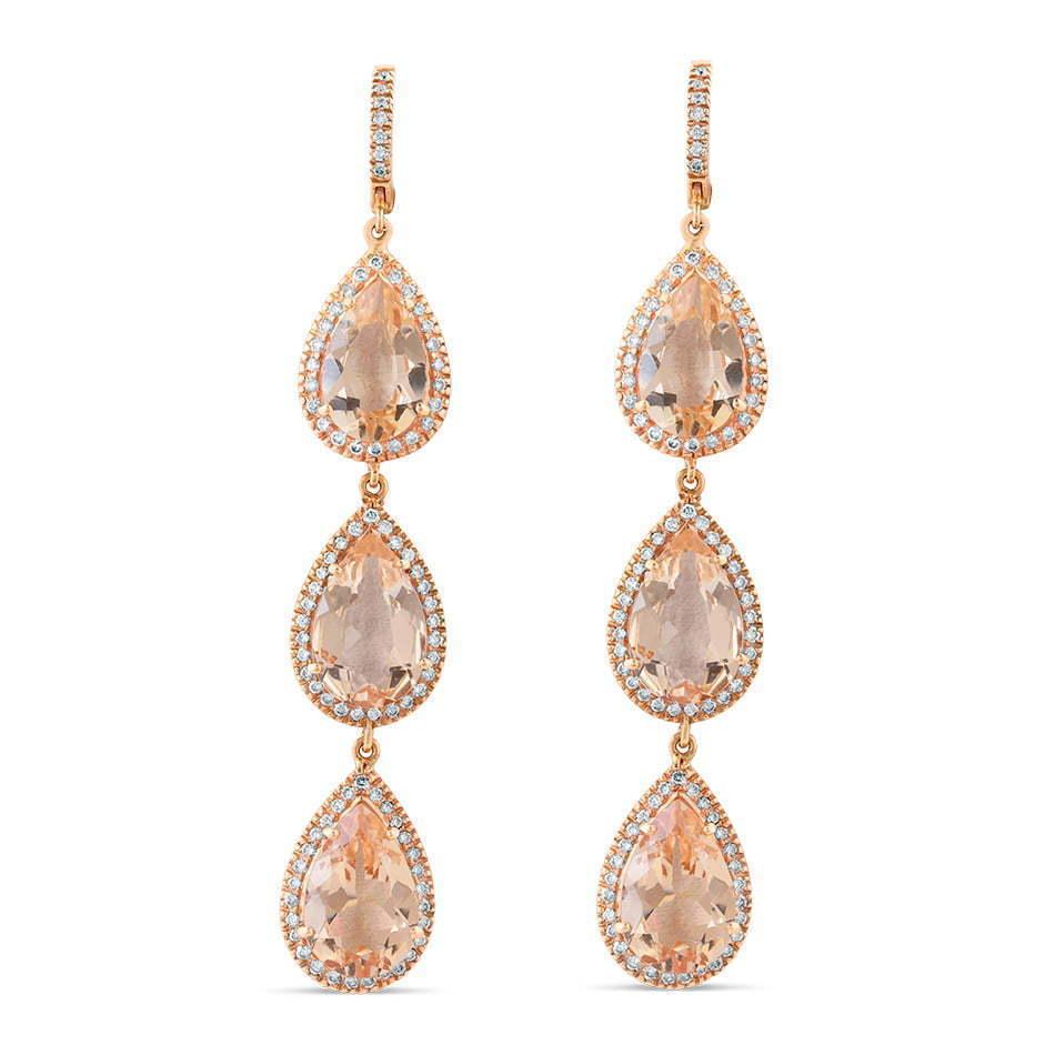 pair of pink crystal diamond teardrop earrings
