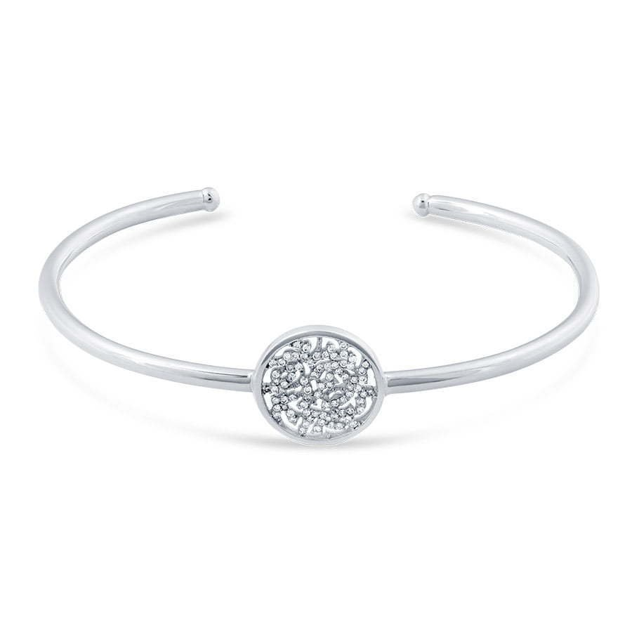 silver metal thin bracelet with center diamond stones photography