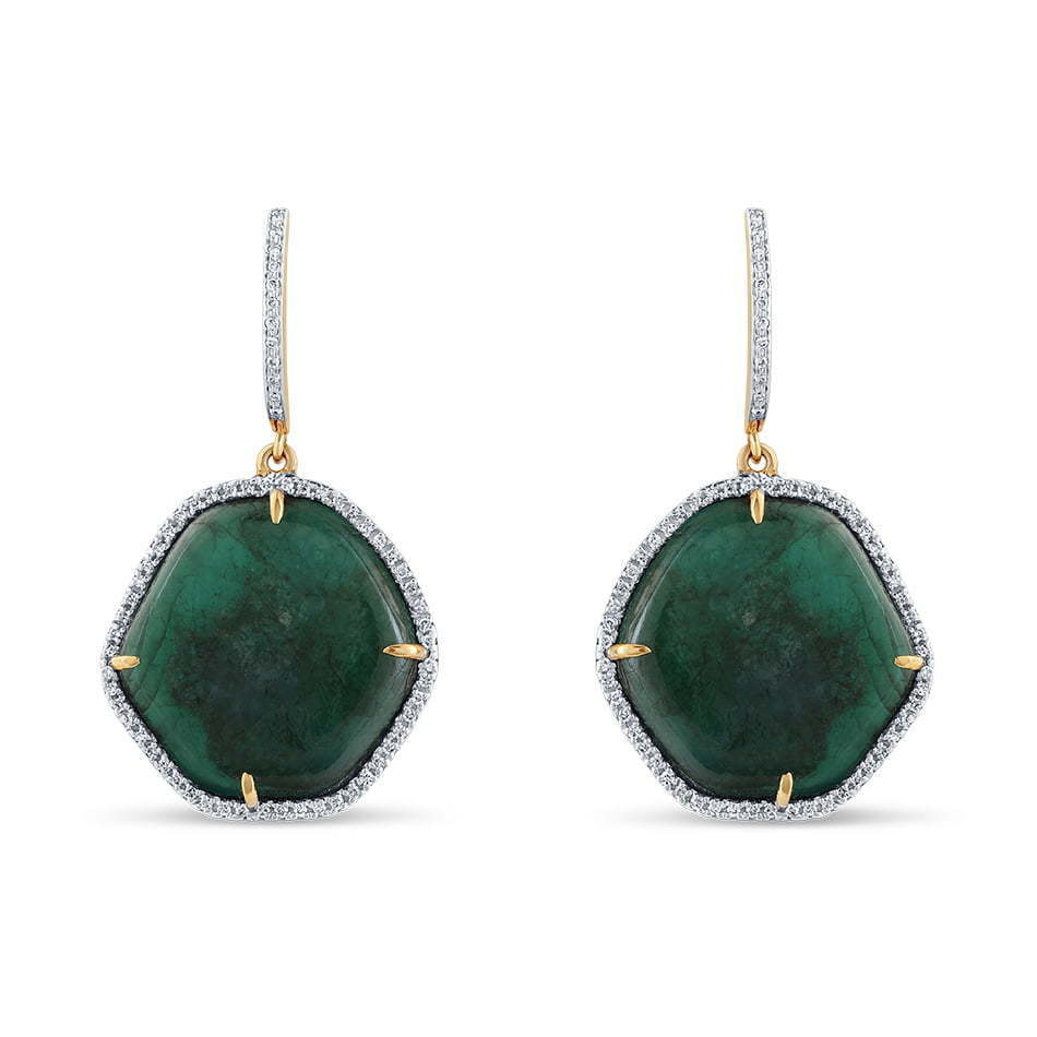 pair of green stone dangling earrings photography