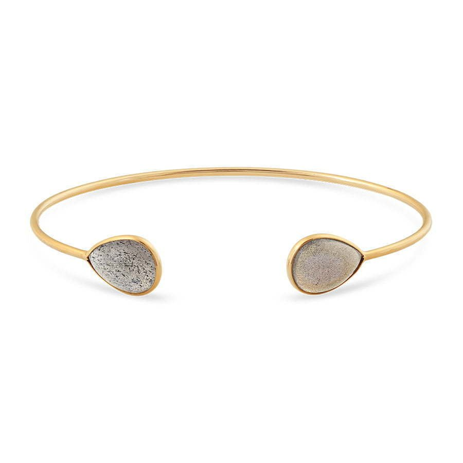 gold metal thin bracelet with brown stones