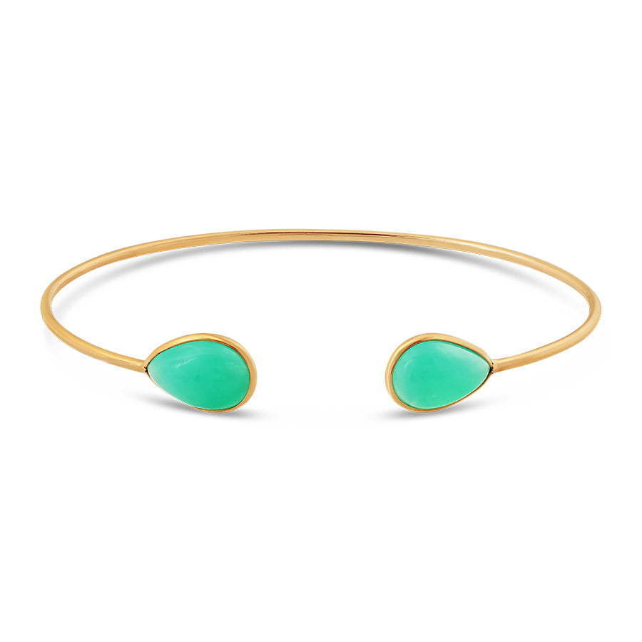 gold metal thin bracelet with green stones photography