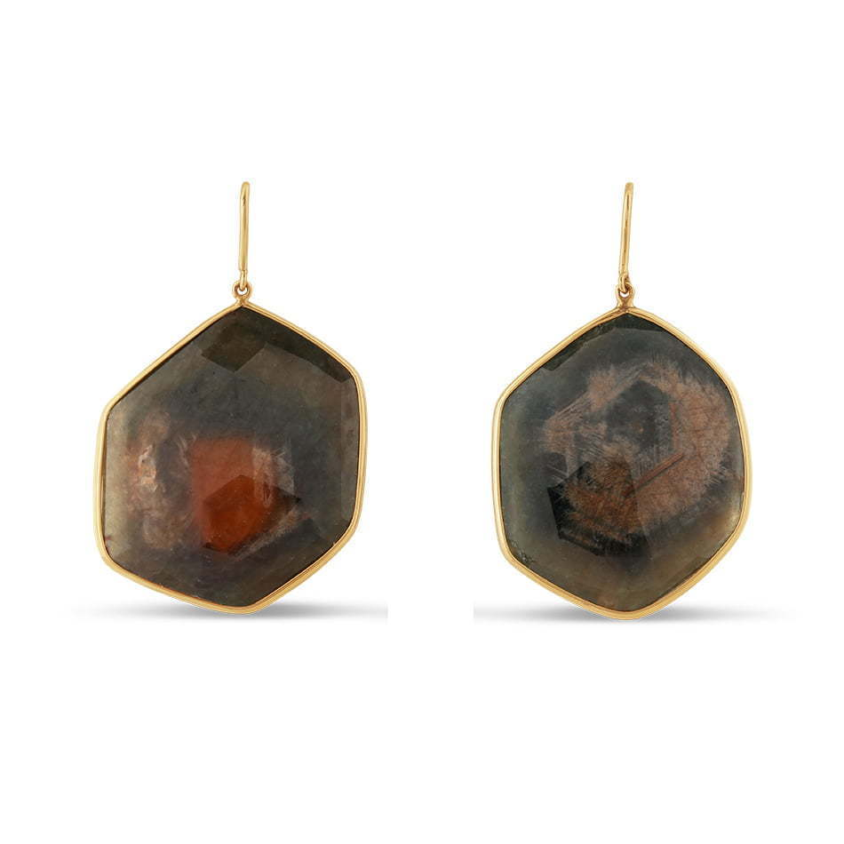 pair of stone grey earrings dangling jewelry photography