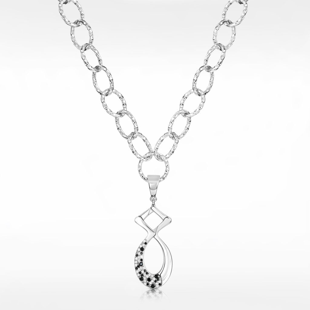 White gold necklace photography on a grey background
