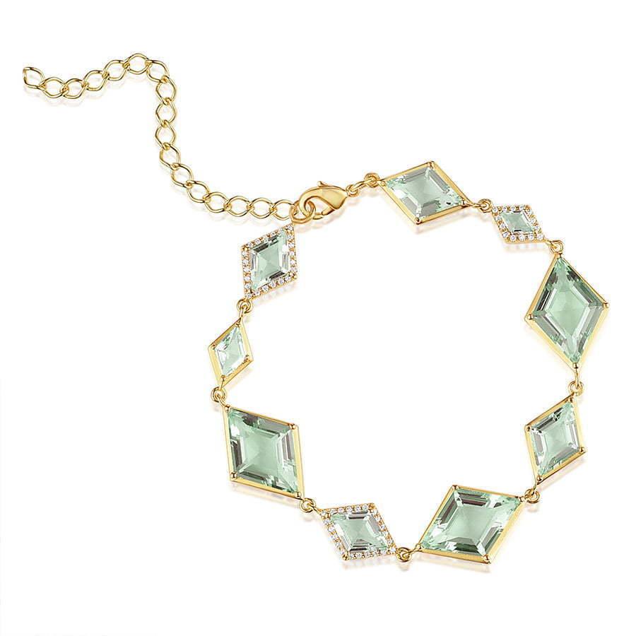 bracelet with green diamond stones  photography