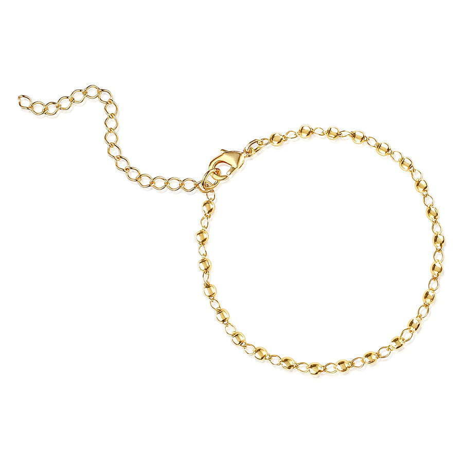 gold chain bead bracelet in a circle jewelry photography