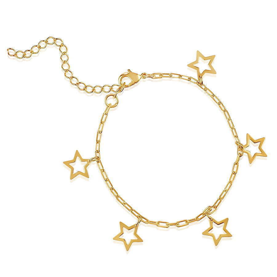 gold bracelet in a circle with gold stars hanging photography