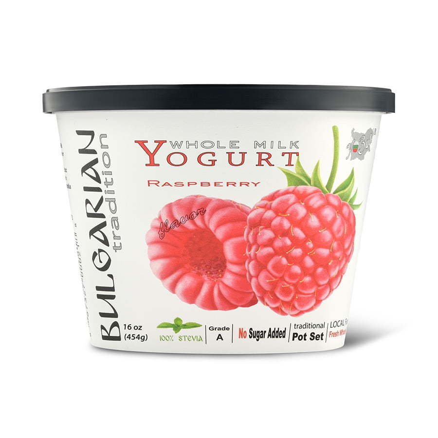 whole milk raspberry flavored yogurt food photography