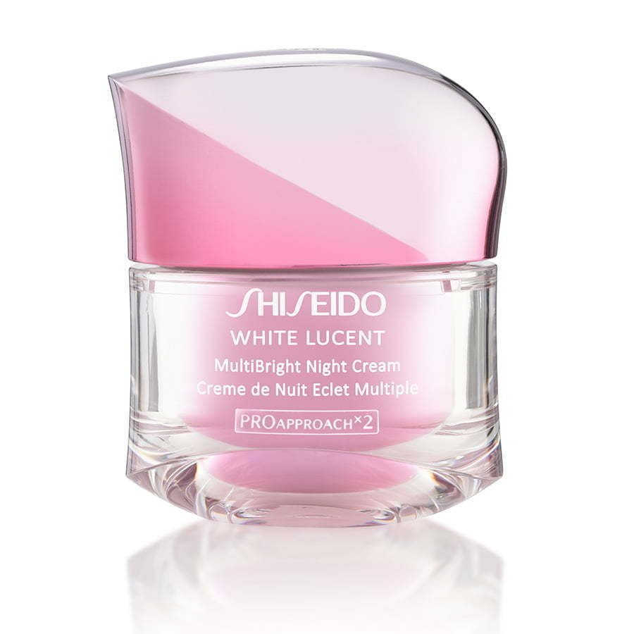 a photo of Shiseido white lucent moisturizing skincare cream product photography on white background