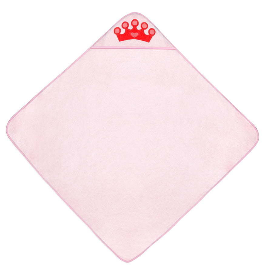 Pink towel for children with red crown flat lay photography