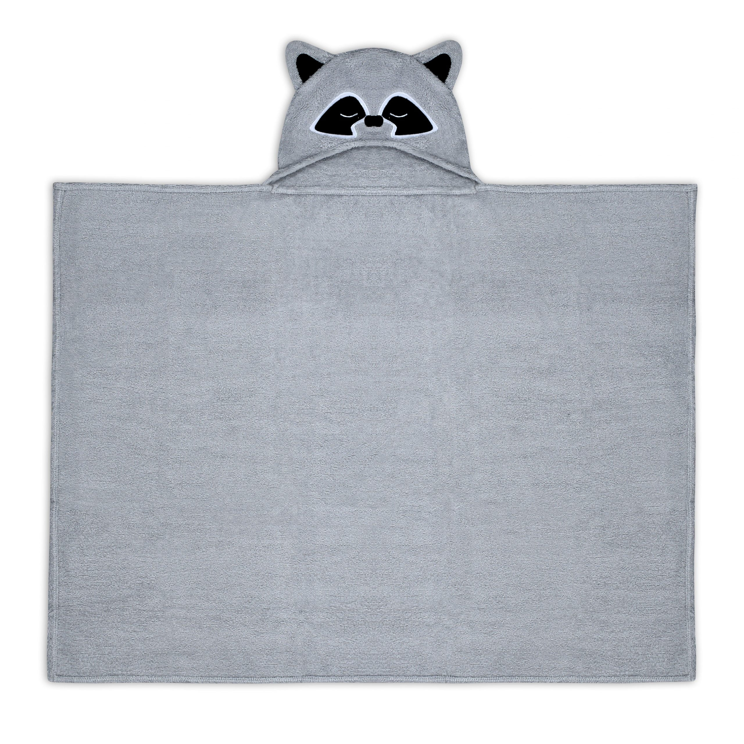 bath towel with raccoon hood flat lay on photography
