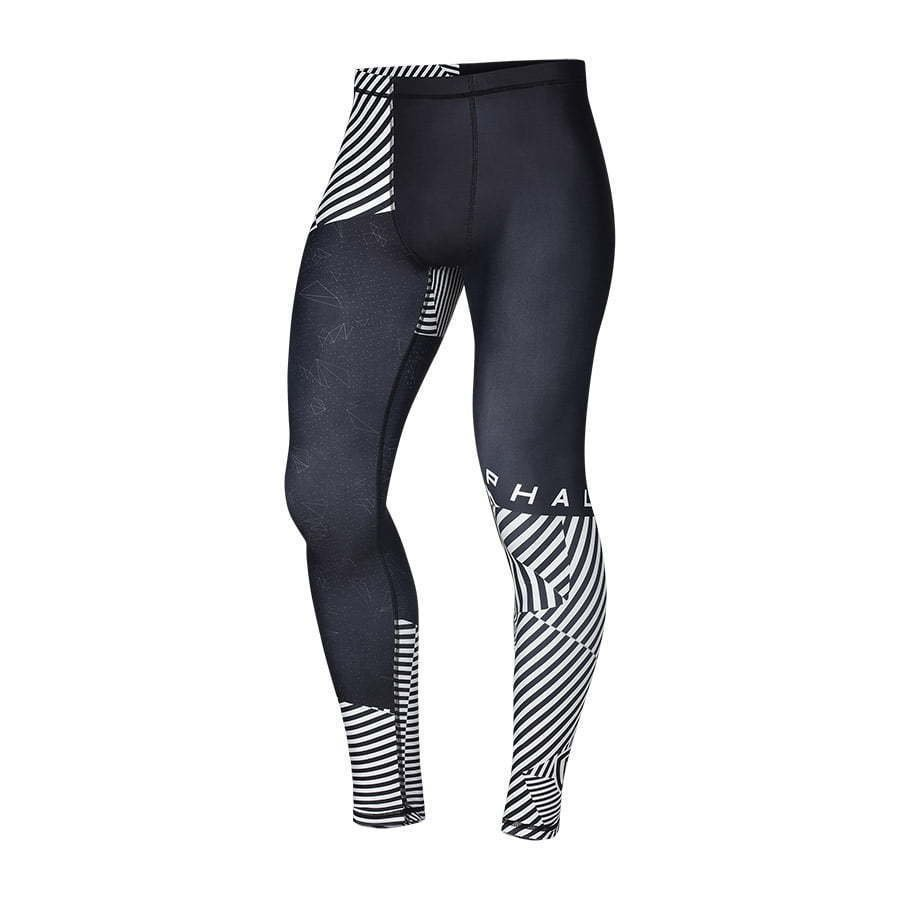 men's fitted athletic leggings black and white print ghost mannequin photography