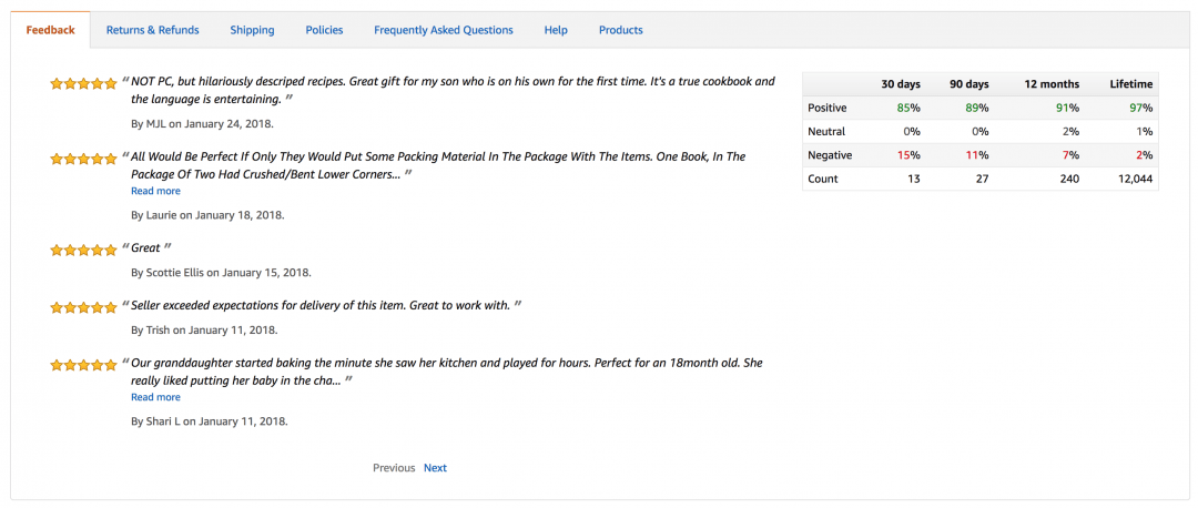a picture that showing amazon seller feedback