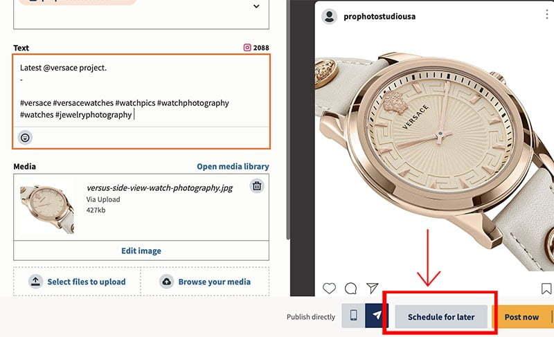 picture of an instagram post been schedule copy