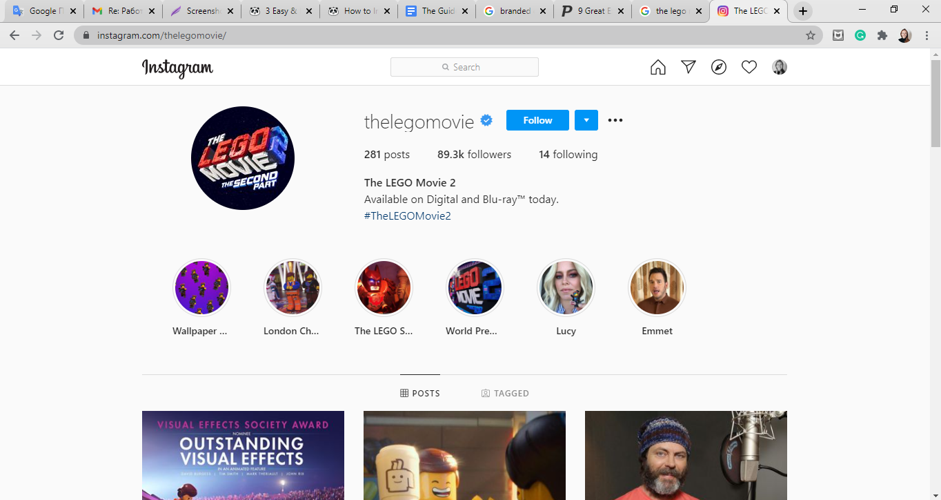 The Lego Movie instagram page