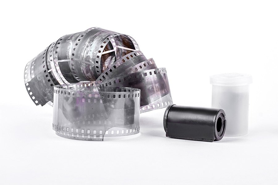 old camera tape, white background.