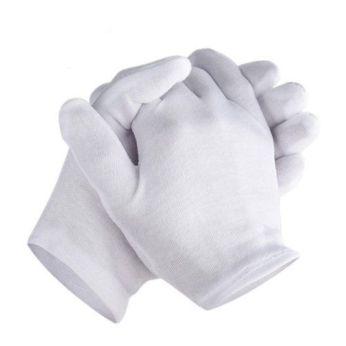 zwhite cotton gloves thickened stretchable lining glove